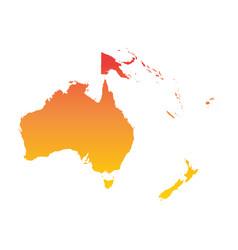 australia and oceania map colorful orange vector image