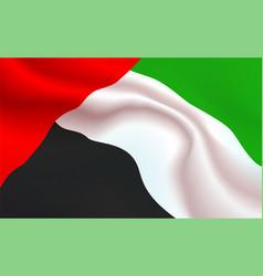 background uae flag in folds united arab emirates vector image