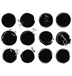 Black grunge circle splashes vector