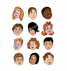 boy and girl face collection vector image