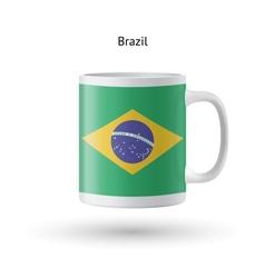 Brazil flag souvenir mug on white background vector image