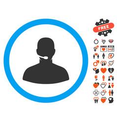 Call center icon with love bonus vector