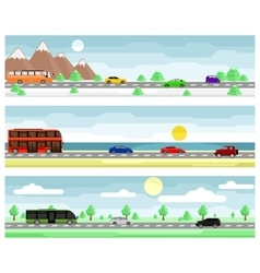 Car travel banners vector