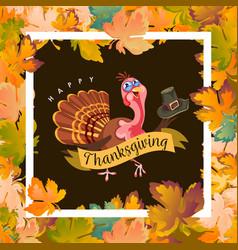 Cartoon thanksgiving turkey character holding hat vector