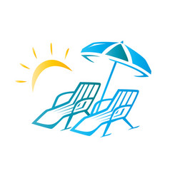 Chairs and umbrella vector