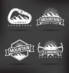 Climbing Mountain Label vector image