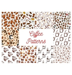 Coffee cups and coffee makers seamless patterns vector