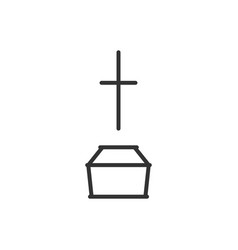 coffin and cross line icon vector image