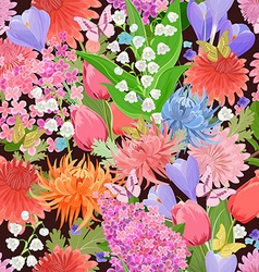 colorful seamless texture with different flowers vector image