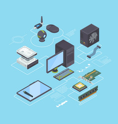 computer parts and connection diagram isometric vector image