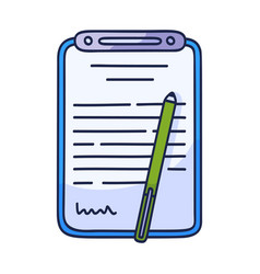 contract document icon in doodle style hand drawn vector image
