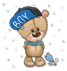 Cute cartoon teddy bear in cap on a white vector