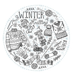 Doodle winter knittingCircle compositionBlack vector