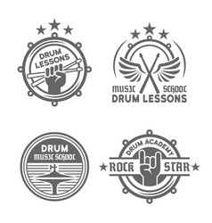 Drum school or drum lessons vintage emblems vector