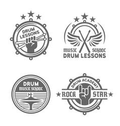 drum school or drum lessons vintage emblems vector image