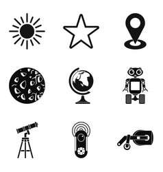 Exploring the planet icons set simple style vector