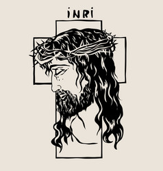 face lord jesus sketch drawing vector image