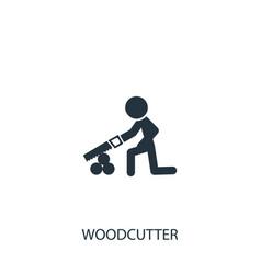 Farmer saws wood icon simple gardening element vector