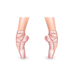 feet of the ballerina in pointe shoes vector image