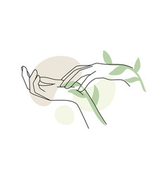 female hands with branch leaf and abstract vector image