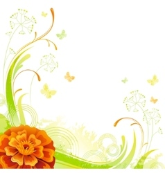Floral summer background with orange marigold vector