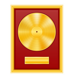 Gold vinyl disk in frame stock vector