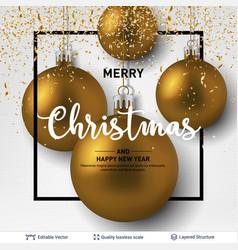 Golden shiny christmas balls on light background vector