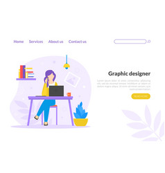graphic designer landing page template woman vector image