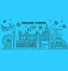 Great britain london city winter holidays skyline vector