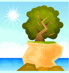 green tree growing on a rock vector image
