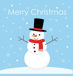 greeting christmas card with a cute snowman vector image