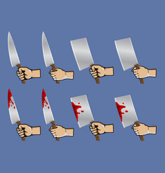 hand grab meat knife vector image