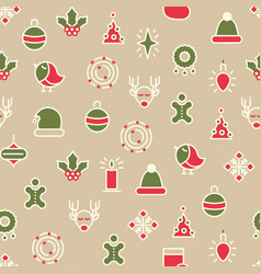 happy christmas symbols seamless pattern vector image