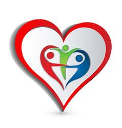 Heart trial people symbol logo vector