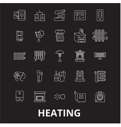 heating editable line icons set on black vector image