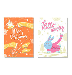 hello winter postcard with rabbit scarf mittens vector image