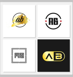Initial letter ab logo template design vector
