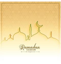 Islamic ramadan kareem line style greeting design vector