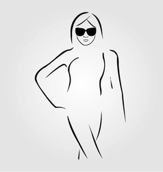 Lady wearing shades and swim suit vector
