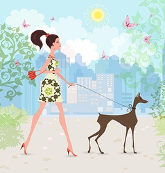 Lovely girl and her dog are walking in the city vector image