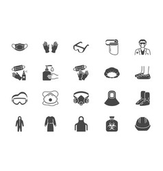 medical ppe flat icons vector image