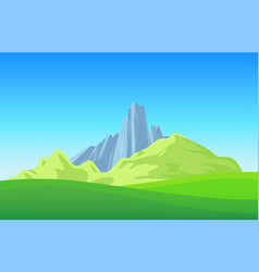 mountains with green field on landscape wallpaper vector image