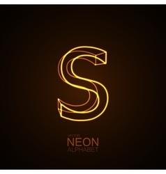Neon 3D letter S vector
