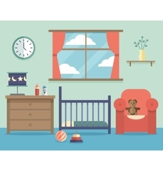 Nursery baby room interior with furniture in flat vector