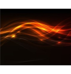 Orange light wave on black background vector