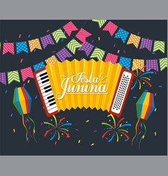 Party banner with accordion to festa junina vector