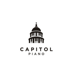 Piano government capitol building music logo vector