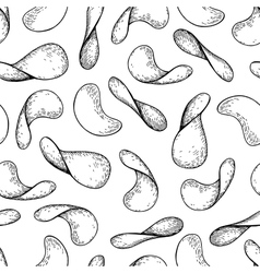Potato chips seamless pattern Hand drawn vector