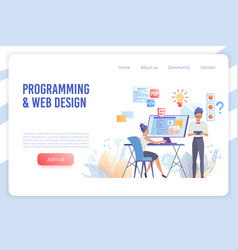 programming and web design flat landing vector image