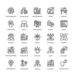 Project management line icons set 17 vector